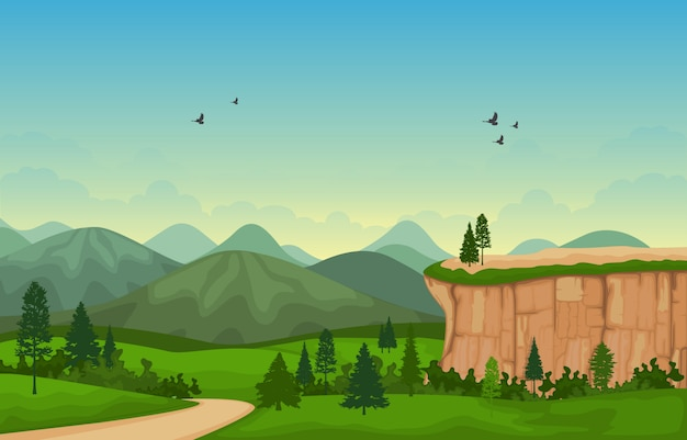 Illustrazione di vettore di cliff tree nature landscape della valle della montagna Vettore Premium