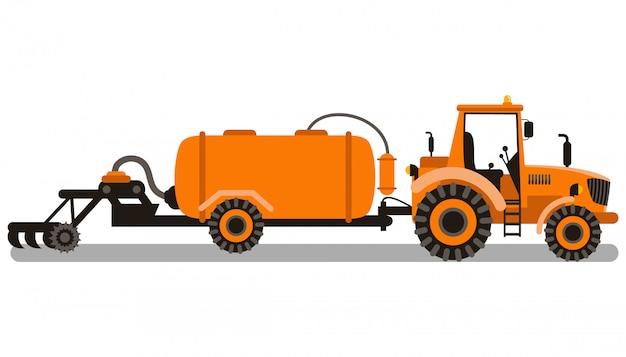 Illustrazione di vettore di colore della macchina di lavorazione del suolo Vettore Premium