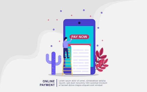 Illustrazione di vettore di concetto di pagamento online. concetto di pagamento mobile o trasferimento di denaro. illustrazione online di compera del mercato di commercio elettronico con il carattere minuscolo della gente. Vettore Premium