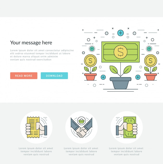 Illustrazione di vettore di concetto linea piatta business online. Vettore Premium
