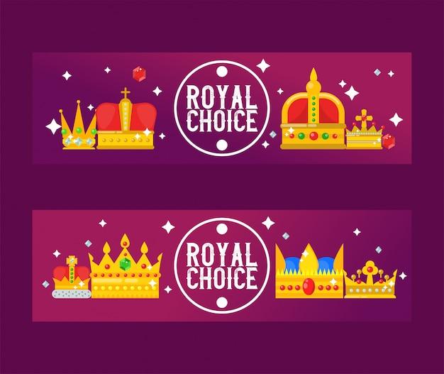 Illustrazione di vettore di corone reali dorate. banner di design reale di lusso. Vettore Premium