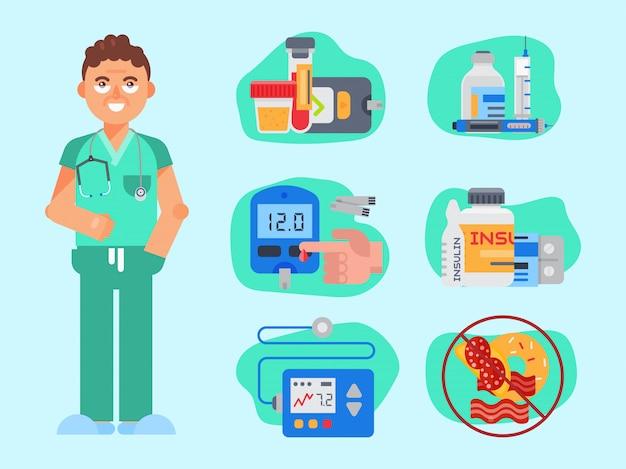 Illustrazione di vettore di cura del diabete mellito. il medico in camice parla dell'importanza dei livelli di zucchero e insulina e di una vita sana per i diabetici sani Vettore Premium