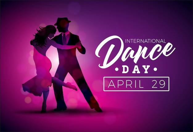 Illustrazione di vettore di dance day internazionale con coppia di ballare di tango su sfondo viola Vettore Premium