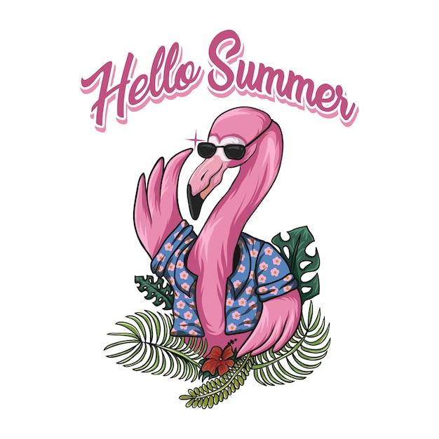 Illustrazione di vettore di estate del fenicottero ciao Vettore Premium