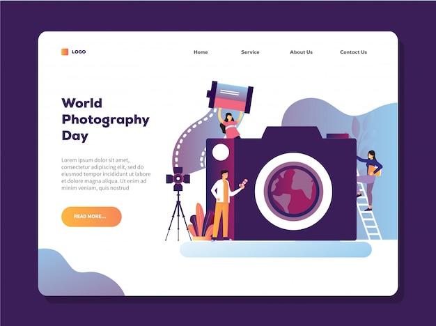 Illustrazione di vettore di giorno della fotografia del mondo con il modello della pagina di atterraggio della macchina fotografica della tenuta dell'uomo Vettore Premium