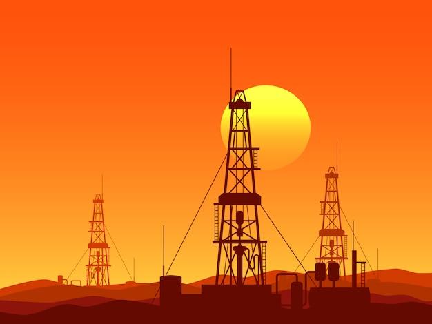 Illustrazione di vettore di impianti di perforazione del petrolio e del gas Vettore Premium