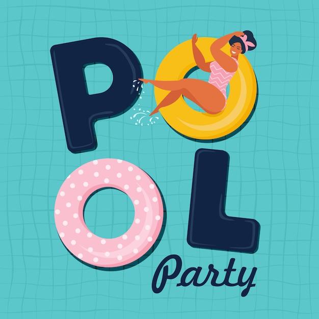 Illustrazione di vettore di invito festa in piscina. vista dall'alto della piscina con galleggianti piscina. Vettore Premium