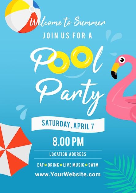 Illustrazione di vettore di invito festa in piscina. Vettore Premium