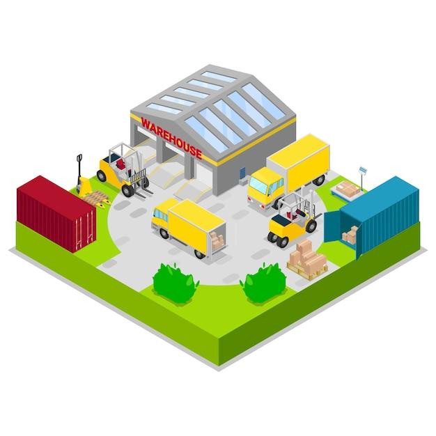 Illustrazione di vettore di logistica di stoccaggio e spedizione del magazzino. concetto isometrico di deposito e trasporto merci, consegna e spedizione magazzino con camion e carrelli elevatori. Vettore Premium