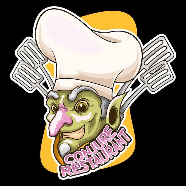 Illustrazione di vettore di logo del fumetto del mago del cuoco unico Vettore Premium