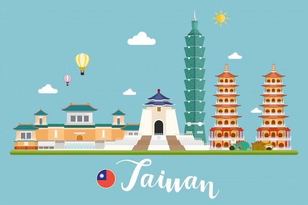Illustrazione di vettore di paesaggi di viaggio di taiwan Vettore Premium