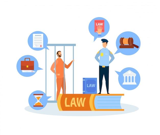 Illustrazione di vettore di procedura di prova di caso penale Vettore Premium