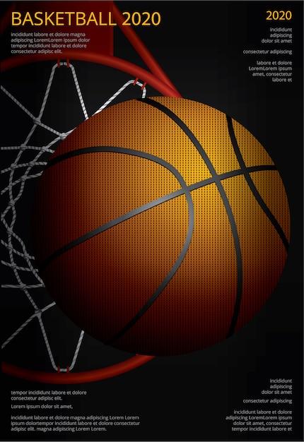 Illustrazione di vettore di pubblicità del manifesto di pallacanestro Vettore gratuito