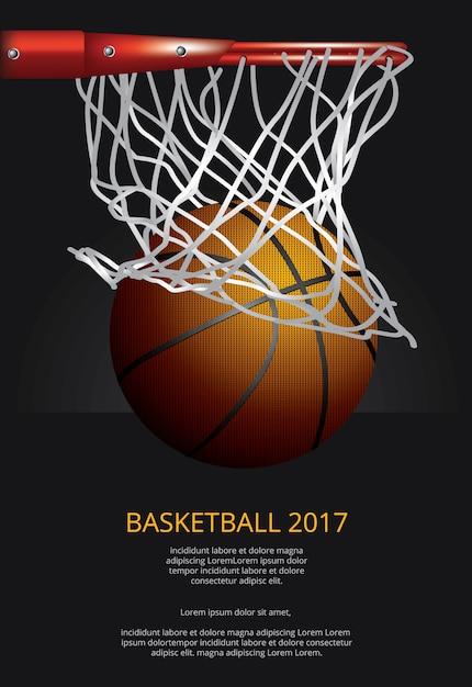 Illustrazione di vettore di pubblicità del manifesto di pallacanestro Vettore Premium