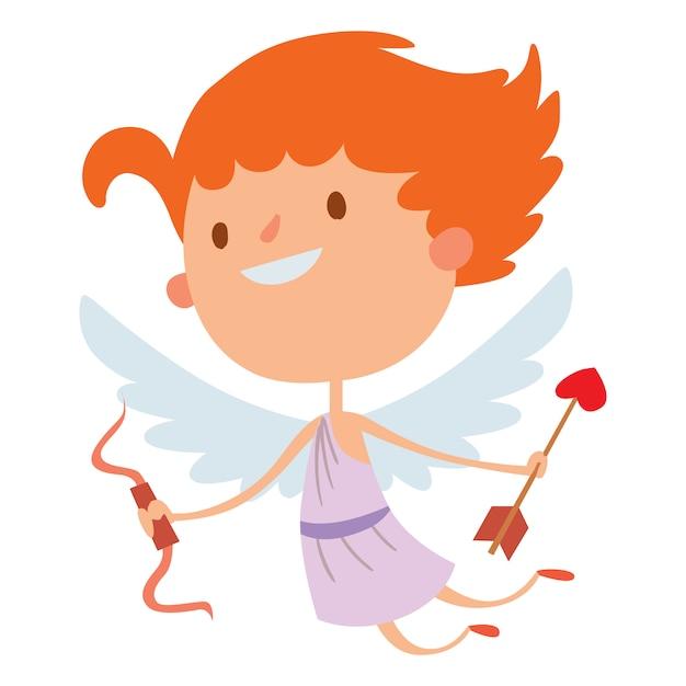 Illustrazione di vettore di stile del fumetto di angeli del cupido di valentine day Vettore Premium
