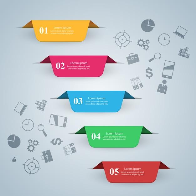 Illustrazione di vettore di stile di origami di infographics di affari. Vettore Premium