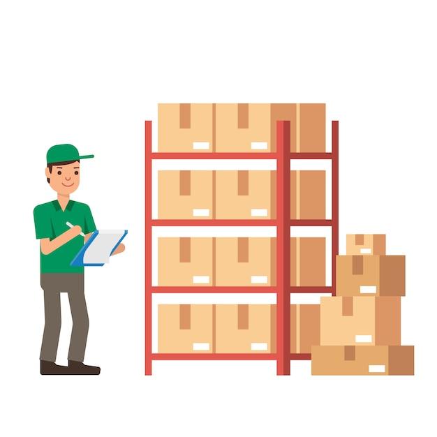 Illustrazione di vettore di stile piatto moderno magazzino inventario e consegna lavoratori isolato su sfondo bianco Vettore Premium