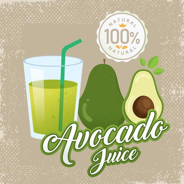 Illustrazione di vettore di succo di avocado fresco dell'annata Vettore Premium