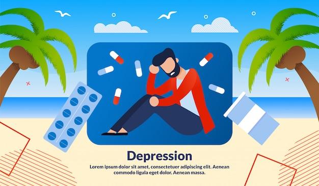Illustrazione di vettore di trattamento di depressione degli uomini Vettore Premium