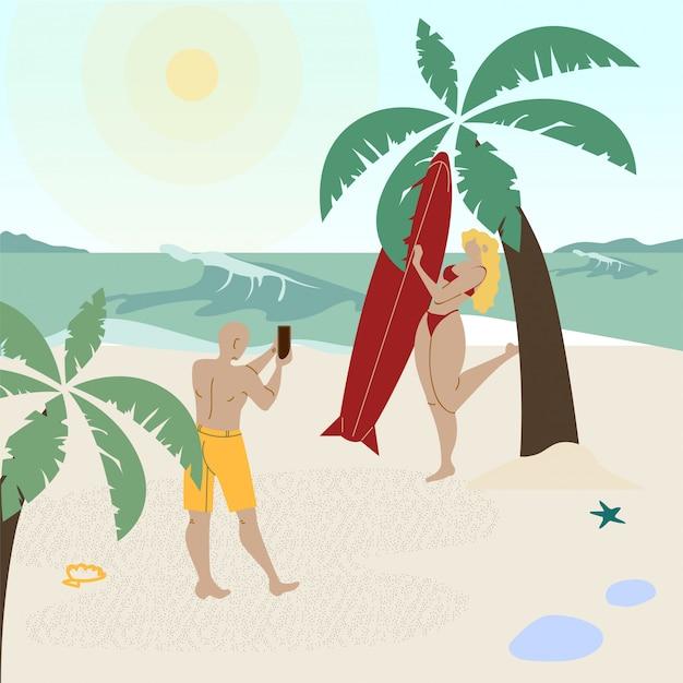 Illustrazione di vettore di vacanza di festa di luna di miele Vettore Premium
