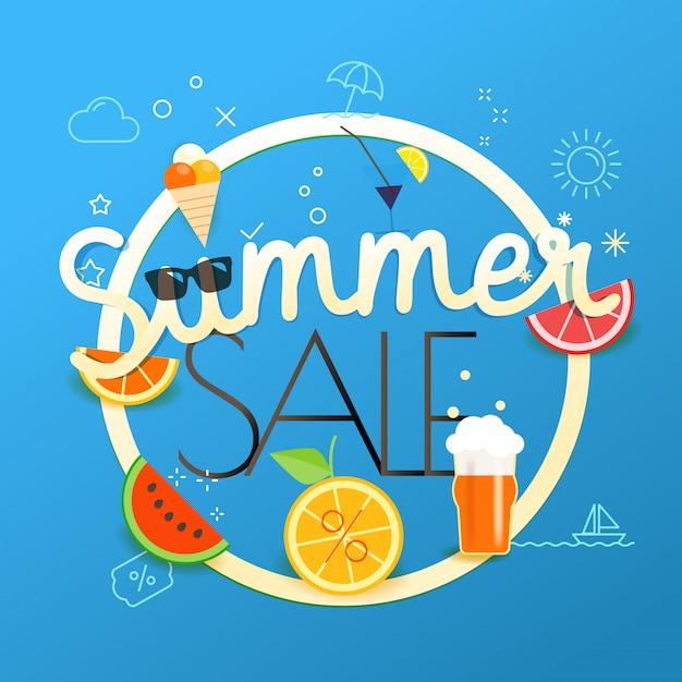 Illustrazione di vettore di vendita di estate concetto di vendita di stagione Vettore Premium