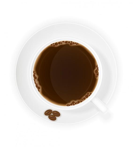 Illustrazione di vettore di vista superiore dei chicchi e della tazza di caffè Vettore Premium