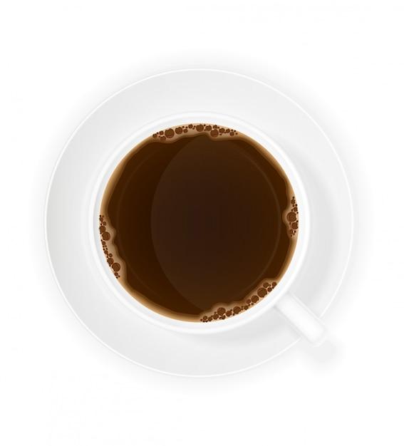 Illustrazione di vettore di vista superiore della tazza di caffè Vettore Premium