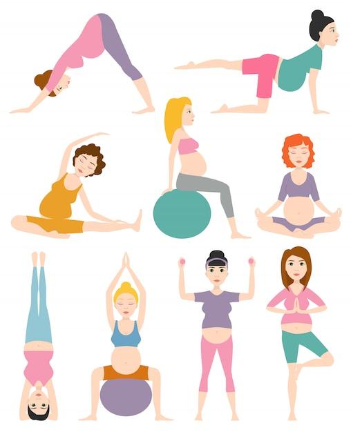 Illustrazione di vettore di yoga della donna incinta. Vettore Premium
