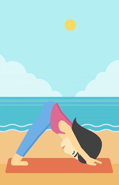 Illustrazione di vettore di yoga di pratica della donna Vettore Premium