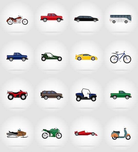 Illustrazione di vettore icone piane di trasporto Vettore Premium