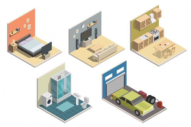Illustrazione di vettore interni poli basso isometrica. Vettore Premium