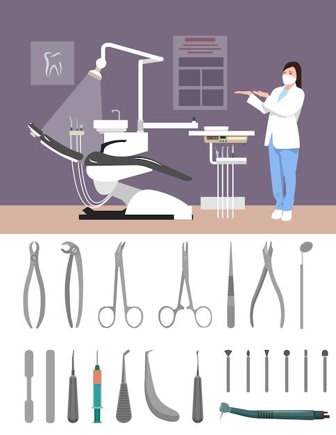 Illustrazione di vettore interno clinica dentista in stile piano. strumenti dentali isolati. infermiera nella stanza d'ospedale. ufficio, poltrona, dottore, strumenti. Vettore Premium