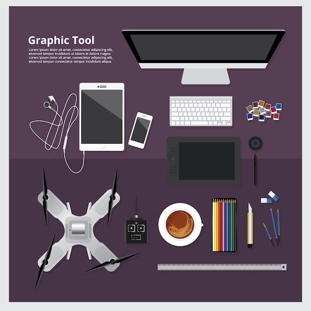 Illustrazione di vettore isolata area di lavoro grafica dello strumento Vettore Premium