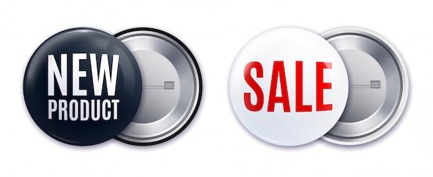 Illustrazione di vettore isolata insieme bianco nero realistico del distintivo del nuovo prodotto Vettore gratuito