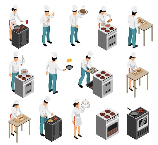Illustrazione di vettore isolata serie di caratteri isometrica di servizio del cameriere della preparazione dell'alimento del cuoco unico del cuoco dell'attrezzatura professionale della gamma della cucina Vettore gratuito