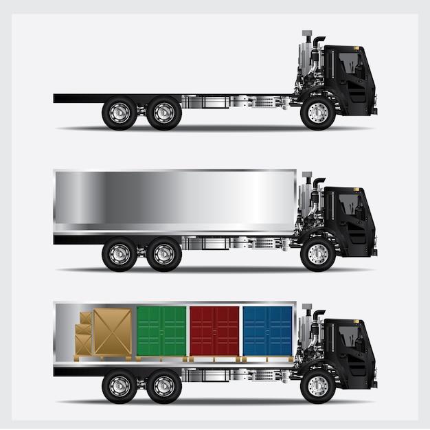 Illustrazione di vettore isolata trasporto dei camion del carico Vettore Premium