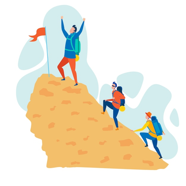 Illustrazione di vettore piano di hobby di alpinismo Vettore Premium