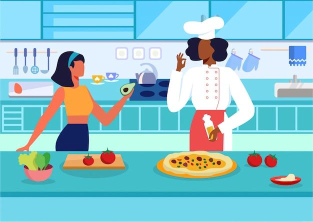 Illustrazione di vettore piatto di cucina master class Vettore Premium