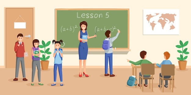 Illustrazione di vettore piatto lezione di matematica Vettore Premium