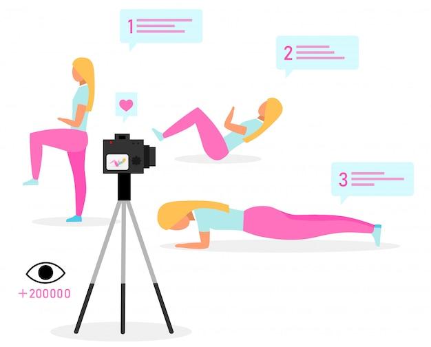Illustrazione di vettore piatto sport blogger. istruttore di fitness, vlogger in streaming video. tutorial online di esercizio fisico. contenuto di vlog sui social media. Vettore Premium