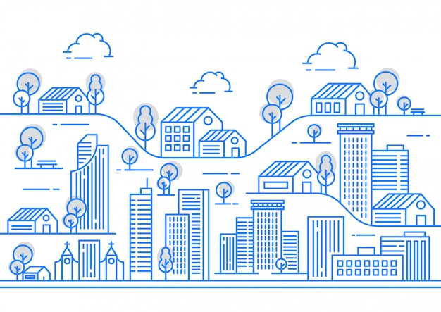 Illustrazione di vista linea di città con una varietà di forme di costruzione Vettore Premium