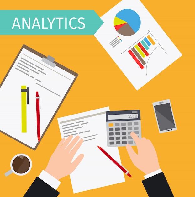 Illustrazione di vista superiore di analisi dei dati di business Vettore Premium