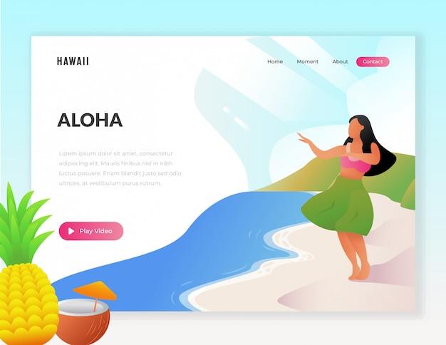 Illustrazione di web turistico vacanza hawaii Vettore Premium