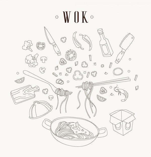 Illustrazione di wok padella asiatica. Vettore Premium