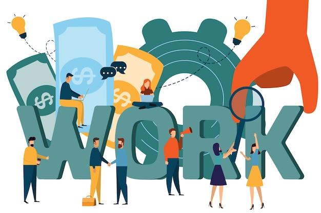 Illustrazione di woking, ricerca di lavoro, reclutamento, gruppo di lavoro, freelance, web graphic design, Vettore Premium