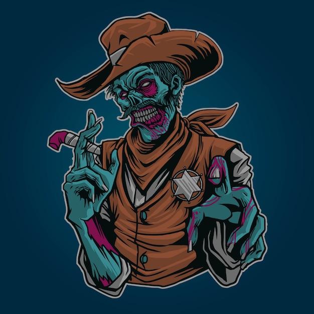 Illustrazione di zombie sherrif Vettore Premium