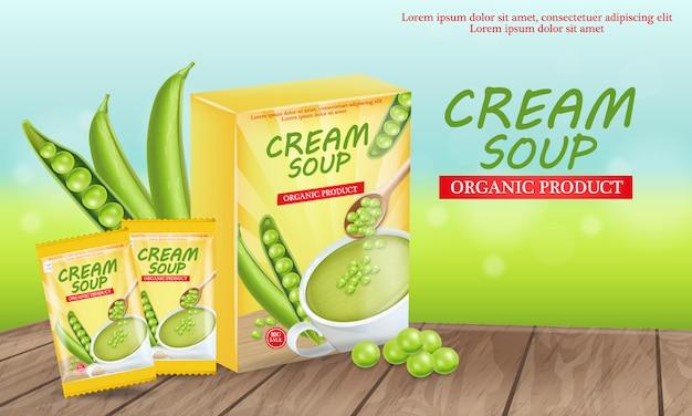 Illustrazione di zuppa di piselli Vettore Premium