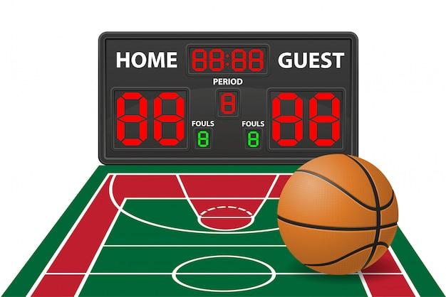 Illustrazione digitale di vettore del tabellone segnapunti di sport di pallacanestro Vettore Premium