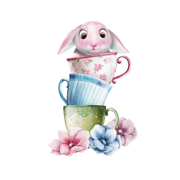 Illustrazione dipinta a mano del coniglietto carino in tazza Vettore Premium