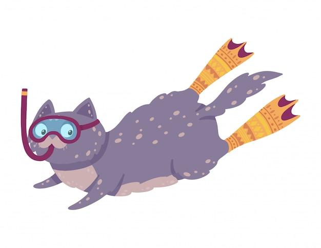 Illustrazione disegnata a mano carina con un gatto di nuoto. cat diving in pinne e maschera. Vettore Premium